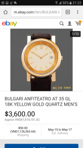 BVLGARI VÀNG ĐÚC 18K GOLD. Size 36m