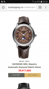 Raymond Weil mặt màu socola rất đẹp. Size : 36m