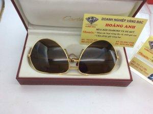Mắt Kính Cartier Aviator Vendome 18k Gold Plated Sunglasses France 1358609