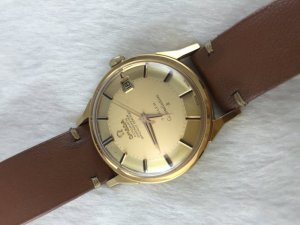 "Omega Constellation TÜRLER Chronometer Automatic Pie Pan ""dog leg"" solid 18k gold Case & Dial Cal561"