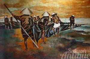 Tranh sơn khắc Thành Lễ xưa: Kéo lưới / KT: 120x80cm