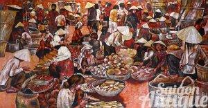 Tranh sơn mài Thành Lễ xưa: Chợ quê (Thủ Dầu Một) / KT: 150x80cm