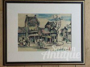 Tranh màu nước trên giấy dó: Phố cổ Hà Nội 1975