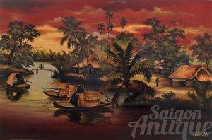 Tranh sơn mài Thành Lễ xưa: Phong cảnh bến sông