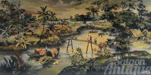 Tranh sơn mài Thành Lễ xưa: Bình yên phong cảnh bến sông