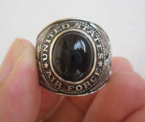 Nhẫn bạc Không Quân Hoa Kỳ phom tròn rất đẹp và hiếm, hột đá đen tự nhiêncủa Hãng Taylor Maid
