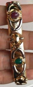 Lắc tay vàng ngoại 14k ( hàng bọng ), vàng Trắng - vàng Vàng - Đính 5 viên đá thiên nhiên