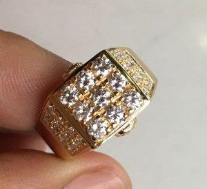 Nhẫn nam vàng ngoại 20k ( 850 ), Singapore sản xuất - Đính 9 viên 2,9ly