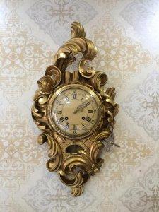 Đồng hồ phù điêu gỗ mạ thiếp vàng sx thuỵ Điển