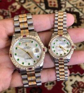 """Rolex 18239B """"Phước-Lộc-Thọ"""" mặt Xà cừ cọc Emerald dây vỏ vàng đúc 18K"""