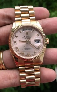 """Rolex 118235 mặt """"Tia Hồng Lamã lớn"""" dây vỏ vàng Hồng đúc 18K zin Thuỵ Sỹ 100% mới 99% Size 36"""