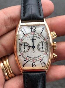 Franck Muller automatic vỏ vàng Hồng đúc 18K zin Thuỵ Sỹ 100% Size 32x45mm