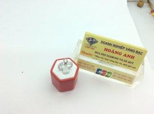 Nhẫn Nữ vàng trắng 14k 5ly36 Diamond ổ ngoại  H19055