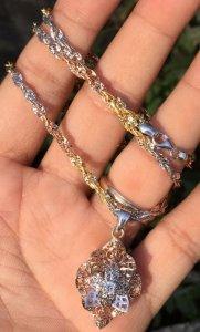 Dây và mặt vàng ngoại 18k - Mặt đính viên kim cương nhân tạo 3,5ly - Dài: 44 cm