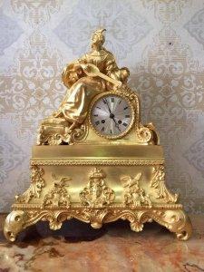 Đồng hồ tượng phu nhân mạ vàng sx Pháp 1900