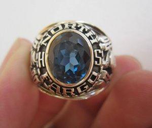 Nhẫn mỹ hợp kim quý năm 1980, chiến binh la mã, hột xanh margin lấp lánh