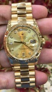 """Rolex 118238 mặt """"Hột lớn"""" dây vỏ vàng đúc 18K mới 99,99% """"đáy còn tem zin"""" zin Rolex Thuỵ Sỹ"""