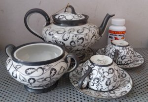 Bộ ấm trà mạ bạc của pháp đồ xưa hội xuân độ