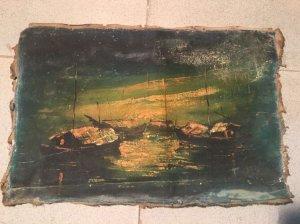 Tranh sơn dầu VIệt Nam xưa bến thuyền đêm trăng