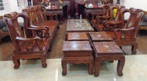 Bộ salon gỗ cẩm lai 10 món tay 10