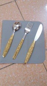 Bộ dao dĩa bạc mạ vàng