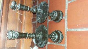 Cặp  đèn gỗ cẩm lai cổ cao 58cm