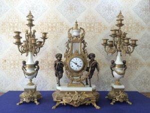Bộ đồng hồ Nhân Mã nhảy dây đá trắng sản xuất Italy 1950 - 1970