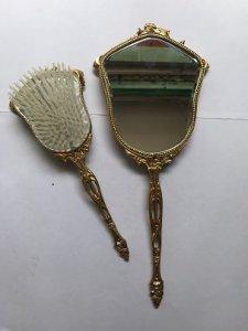 Bộ Gương Lược Trang Điểm Hoa Văn Nổi- Xi Vàng - Đồ Xưa -