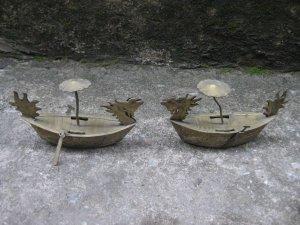 Cặp thuyền rồng đồng mạ bạc