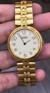 Hermes dây vỏ vàng đúc 18K zin Thuỵ Sỹ toàn bộ 100% size 33mm