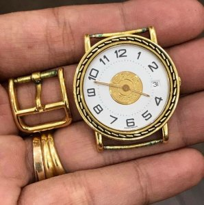 Hermes vỏ vàng đúc 18K zin Thuỵ Sỹ toàn bộ 100% size 32mm