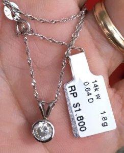 Dây và mặt vàng ngoại 14k - Mặt đính viên kim cương thiên nhiên 5,4ly