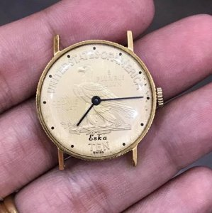 """Đồng hồ Eska """"Đồng xu"""" vàng đúc 18K máy lên dây zin Thuỵ Sỹ toàn bộ 100% size 28mm"""