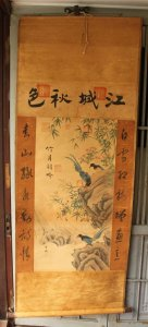 Tranh giấy lụa vẽ chim hoa