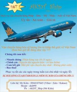 Dịch vụ vận chuyển hàng Pháp – Đức – Mỹ - Nhật -  Anh về Việt Nam uy tín, an toàn, giá rẻ.