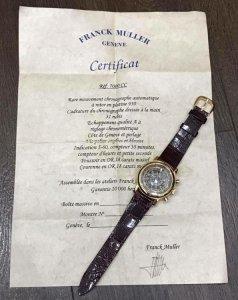 """Franck Muller 7000 CC automatic vỏ vàng đúc 18K zin Thuỵ Sỹ 100% có """"giấy Khai Sinh"""" Size 39mm"""
