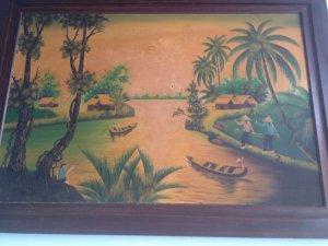 Giao lưu bức tranh sơn dầu vẽ trên vải bố