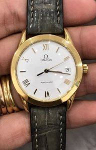 Omega lịch 3h automatic vỏ vàng đúc 18K zin Thuỵ Sỹ size 35,8mm