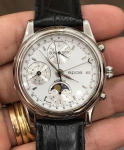 """Epos """"Ngày-Tháng-Thứ- Trăng sao-GMT-Chronom eter"""" mặt số """"dạng Men Trắng"""" automatic zin Thụy Sỹ"""