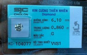 Kim cương thiên nhiên SJC 6,1ly. Giá: 61,9tr