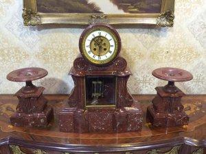Bộ đồng hồ đá cẩm thạch đỏ lắc thuỷ ngân sx Pháp 1890