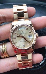"""Rolex 118235 """"mặt Hột lớn"""", """" yếm bóng, chạy chữ Vành trong"""" đời mới dây vỏ vàng Hồng 18K"""
