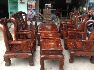 Bộ salon gỗ muồng đen 9 món tay 10