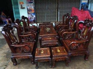 Bộ salon gỗ 13 món cột 9 gỗ mun sọc