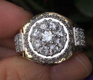 Nhẫn nam vàng ngoại 18k, kiểu Rolex ( vàng Trắng - vàng Vàng ) - Đính viên chủ 4,4ly
