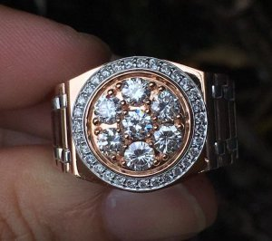 Nhẫn nam vàng ngoại 18k, kiểu Rolex ( vàng Trắng - vàng Hồng ) - Đính 7 viên 3,5ly