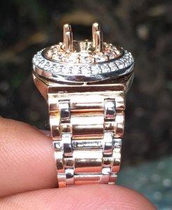 Vỏ nhẫn nam vàng ngoại 18k, kiểu Rolex ( vàng Trắng - vàng Hồng ) - Ổ chủ 5,5-6,5ly