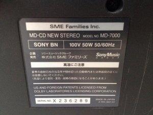 Máy SONY Celebrity. model: MD-7000