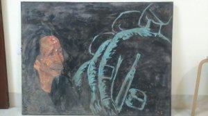 Bức tranh sơn dầu đoàn quân việt nam đi vẽ nhạc sĩ Văn Cao.Do Họa Sĩ Cù Huy Hà Vũ vẽ