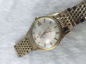 "Omega Constellation Chronometer Automatic Pie Pan ""dog leg"" demi 14k & Bracelet demi Cal561"